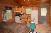 furnished kitchen in this townsend cabin rental