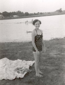 Margaret Williams at the pond in Mason, TN.  Mockingbird Lane home of TJ and Lexie Williams
