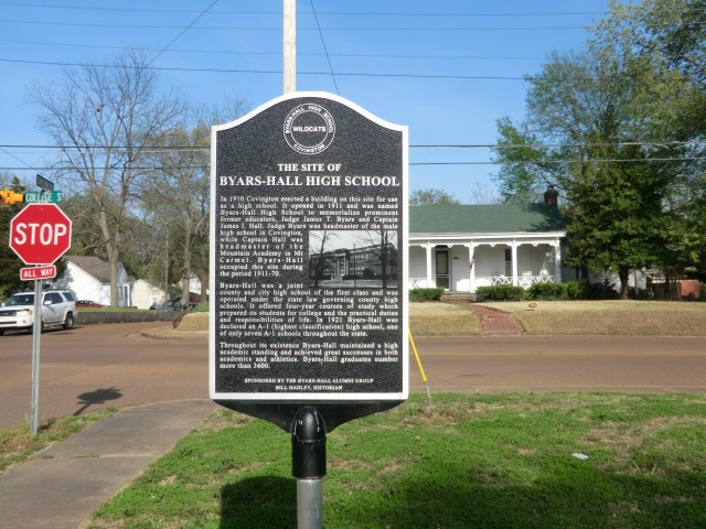 The Site of Byars-Hall High School Marker