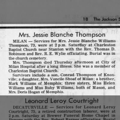 Jessie Blanche Williams Thompson Obit