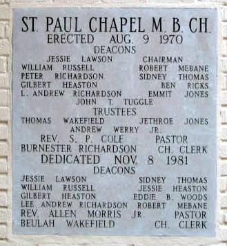 St Paul Chapel M.B. Church Plaque