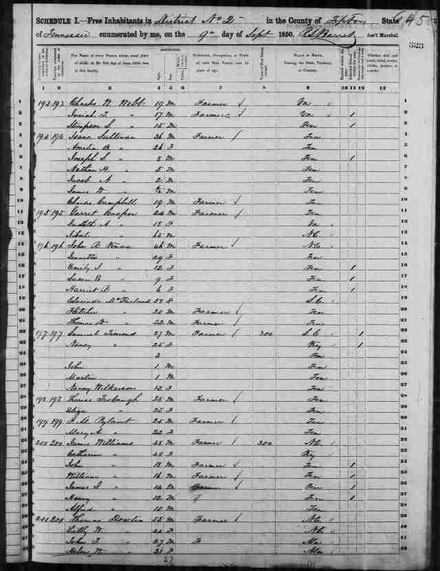 Image 7 - Census 1850 Tipton County TN District 2