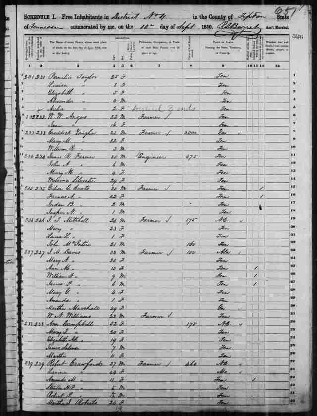 Image 5 - - Census 1850 Tipton County TN District 3