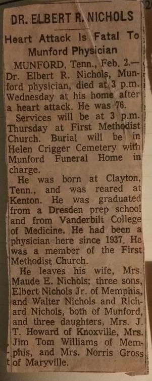Obituary for Dr Elbert Royal Nichols