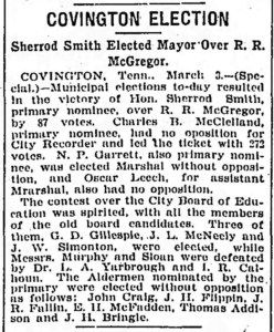 Covington Election Sherrod Smith Elected Mayor Over R. R. McGregor