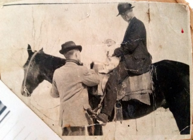 Grandfather on horse with Aunt Frances (Dr E R Nichols and Frances Nichols Howard)