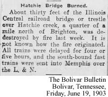 Hatchie Bridge Burned 1903