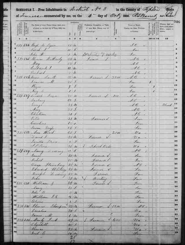 Image 1 1850 Census District 8 Tipton County Tennessee