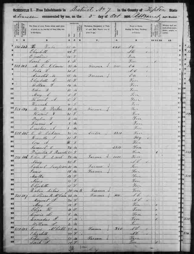 Image 14 1850 Census District 7 Tipton County Tennessee