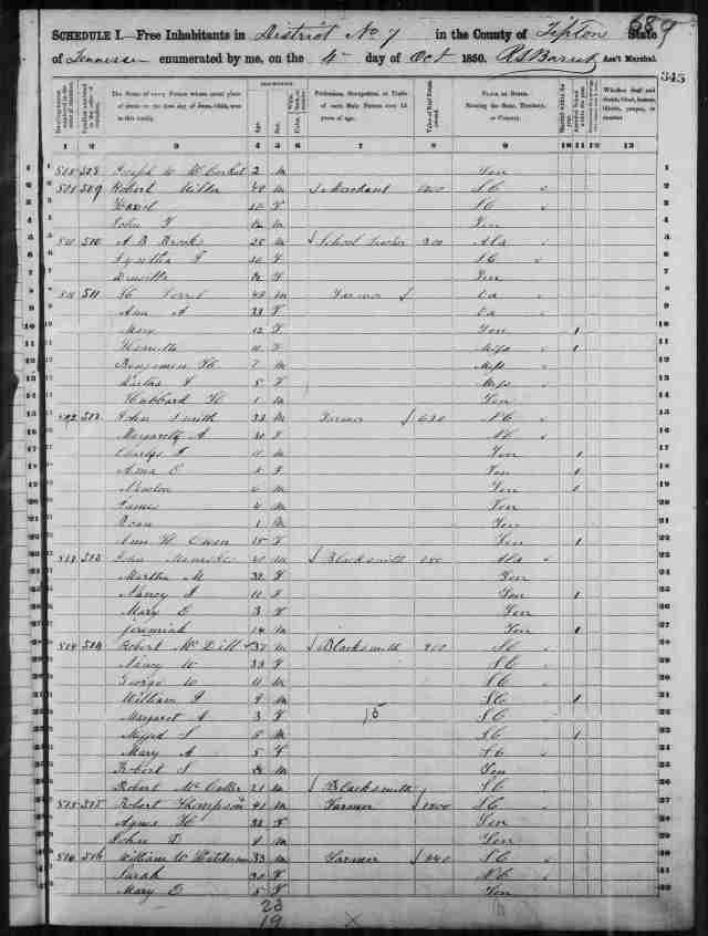 Image 15 1850 Census District 7 Tipton County Tennessee