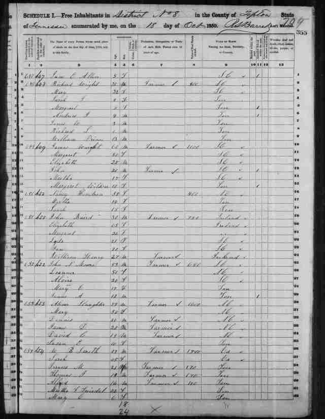 Image 19 1850 Census District 8 Tipton County Tennessee