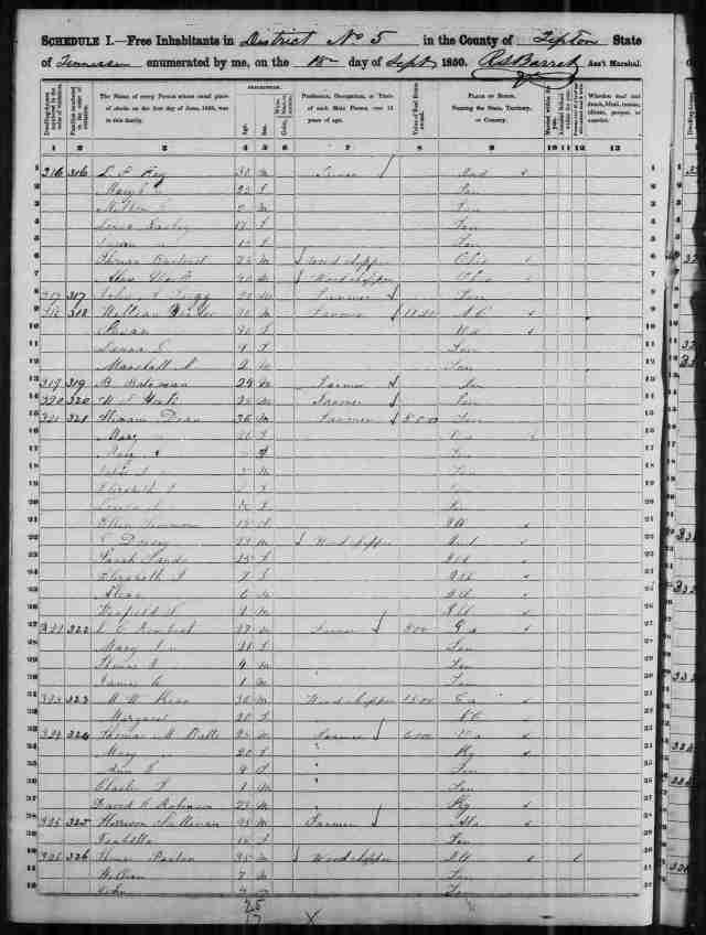 Image 2 1850 Census District 5 Tipton County Tennessee