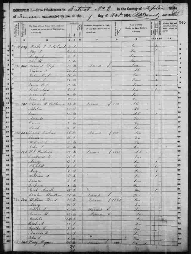 Image 3 1850 Census District 8 Tipton County Tennessee