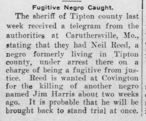 Fugitive Negro Caught