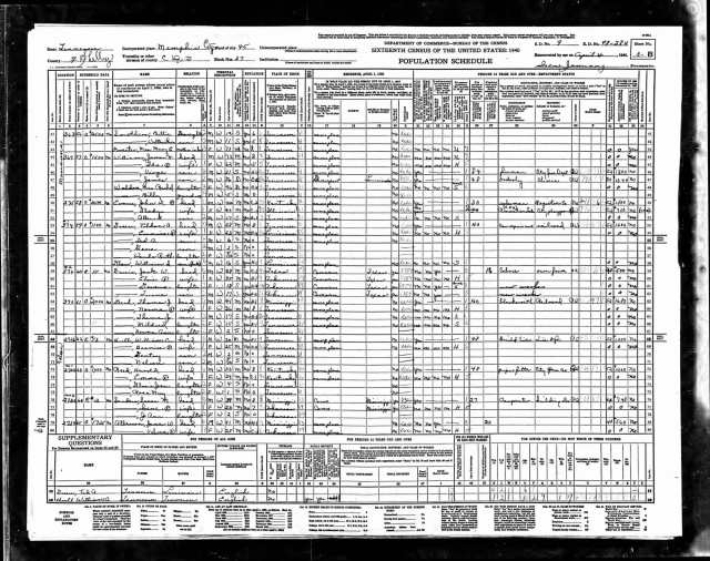 J K Williams in United States Federal Census 1940