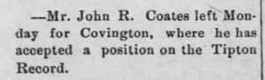 Coates Gets a Position at the Tipton Record