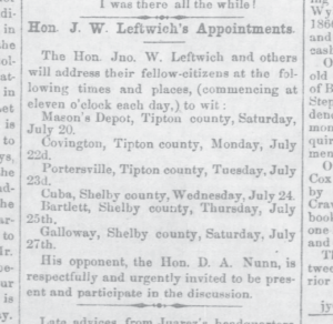 Hon. Jno. W. Leftwich's Appointments
