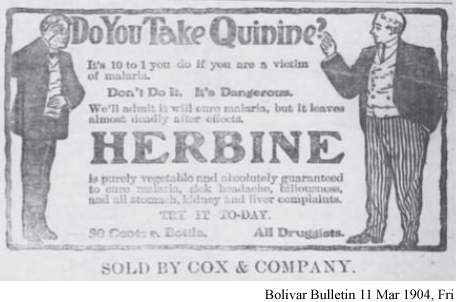 Advertisement for Herbine to cure malaria