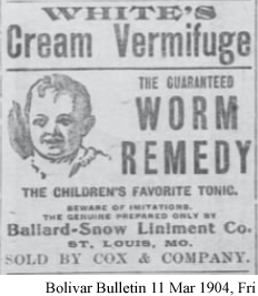 Advertisement for White's Cream Vermifuge
