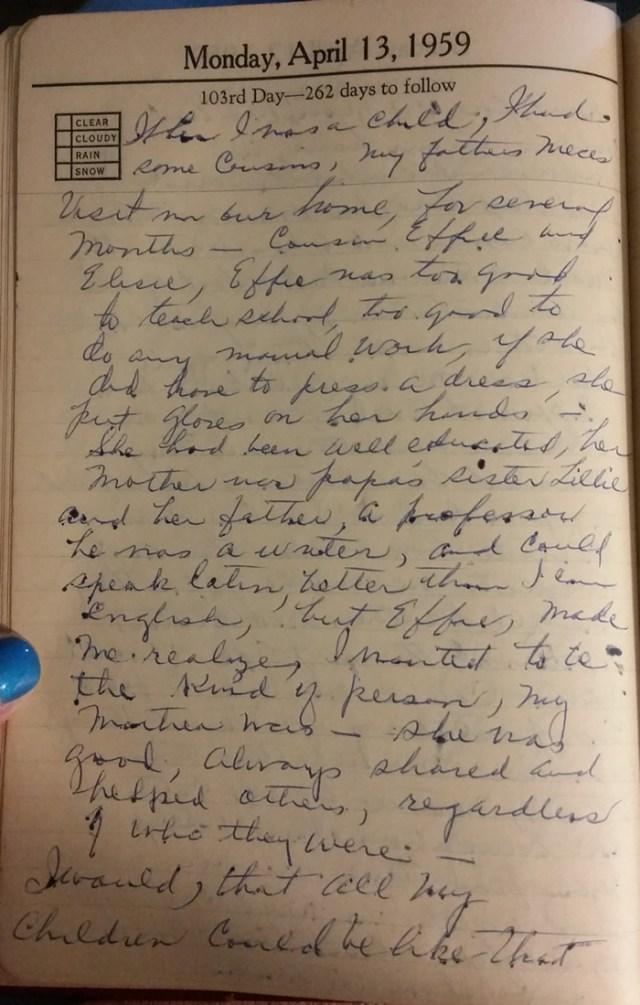 13 Apr 195 - Mary F Nichols Diary