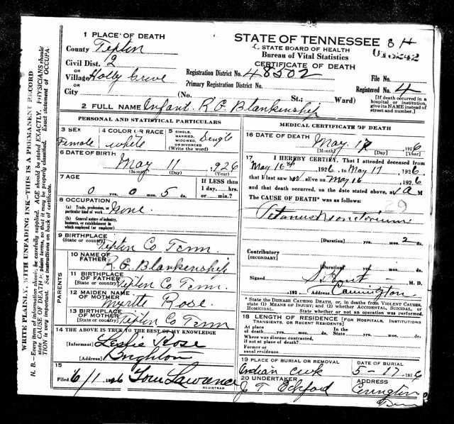 Death Certificate Infant Blankenship