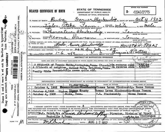 Delayed Birth Record Ruba Garner Blankenship