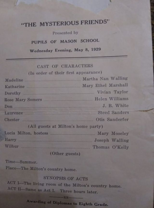 A play by the Mason School in May 1929 Helen Williams played Rose Mary Somers