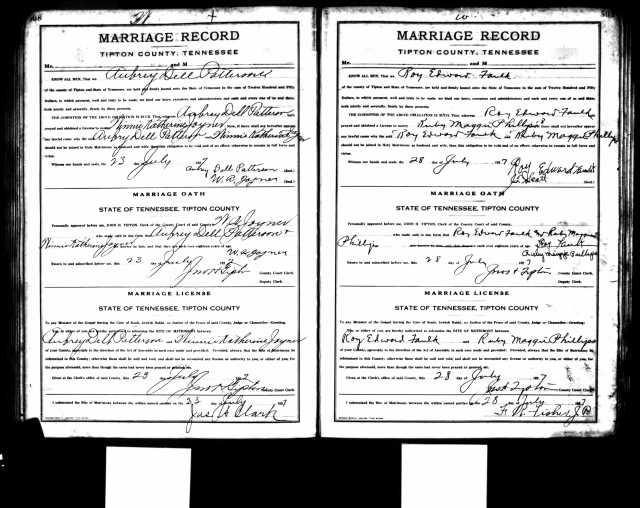 Marriage Record Roy Edward Faulk
