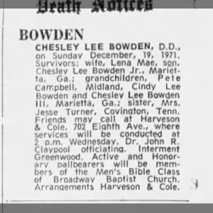 Bowden Sr, Rev Chesley Lee