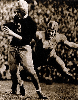Boston College halfback Charlie O'Rourke carrying against Tennessee in the 1941 Sugar Bowl
