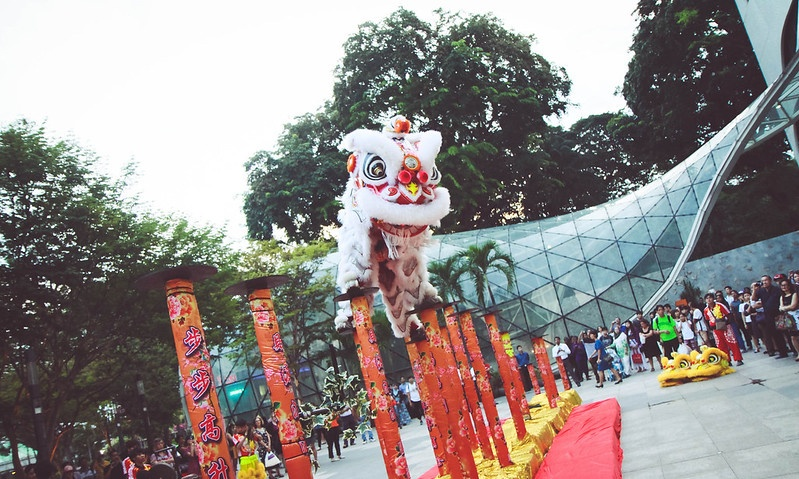 Lion dancing in Singapore