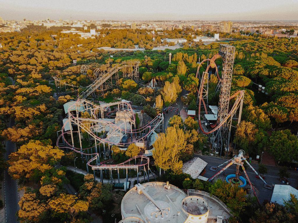 Aerial shot of Parque de Atracciones de Madrid.