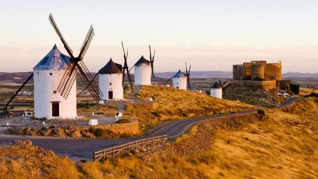 The windmills of sun-drenched La Mancha