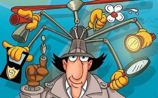 Un dibujo del inspector Gadget, de su sombrero salen multitud de herramientas como lupas, linternas, sprays, y la acreditación de policía