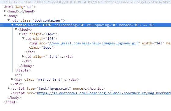 Captura de pantalla con la porción de código que contiene el logotipo de Gmail
