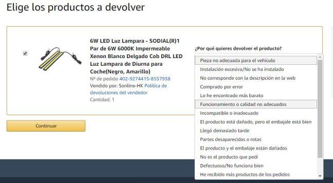 Captura de pantalla de las posibles respuestas que te da Amazon como motivo de devolución del producto