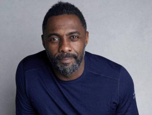 Foto medio plano de Idris Elba. Mira a la cámara sonriente. Lleva puesto un jersey azul.