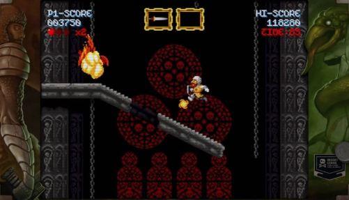 Una captura del divertido juego de plataformas Maldita Castilla con el personaje saltando sobre una escalera