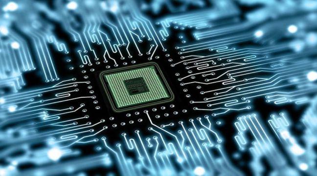 Imagen ampliada de un chip electrónico