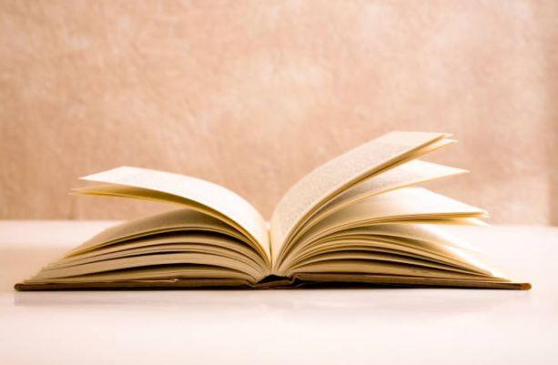 Imagen de un libro abierto sobre un fondo de color beige