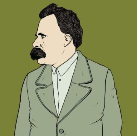 Dibujo del perfil del filósofo recortado sobre un fondo de color verde.