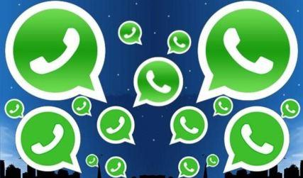 Imagen de muchos símbolos de WhatsApp hablando entre sí. Es como una viñeta llena de iconos de llamadas.