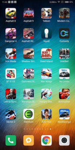 Captura de pantalla de un móvil con muchos juegos instalados