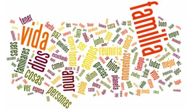 Puzzle divertido de muchas palabras juntas: familia, paz, vida, cosas, amor...