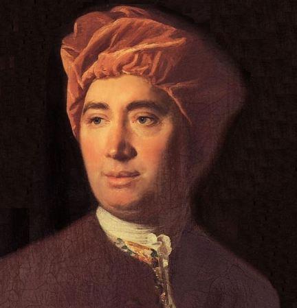 Retrato de David Hume. Foto primer plano de semi perfil sobre fondo negro.