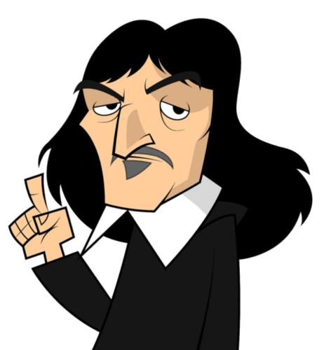 Dibujo caricaturizado del filósofo Descartes