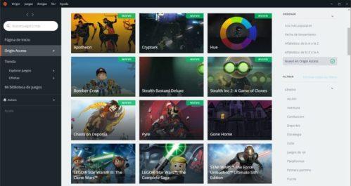Una captura con el listado de juegos de The Vault