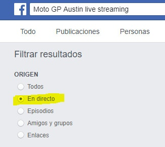 """Captura del submenú de Facebook donde filtramos para que nos muestre únicamente resultados """"En directo"""""""