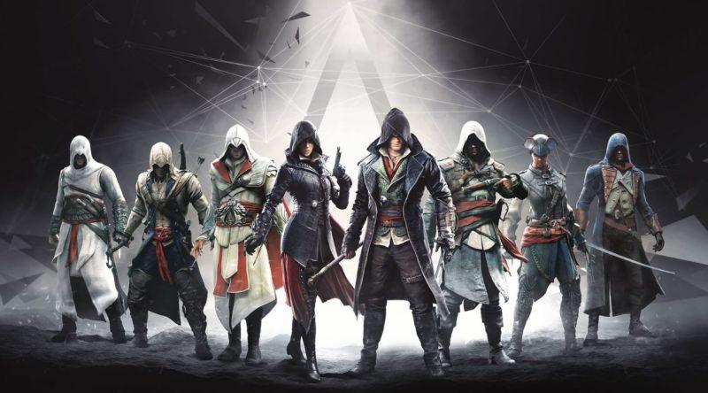 Parte de loos personajes que han aparecido en la saga Assasin's Creed en sus diferentes juegos