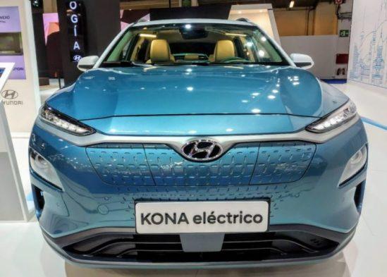 En la foto el bonito y curioso frontal del Hyundai Kona eléctrico